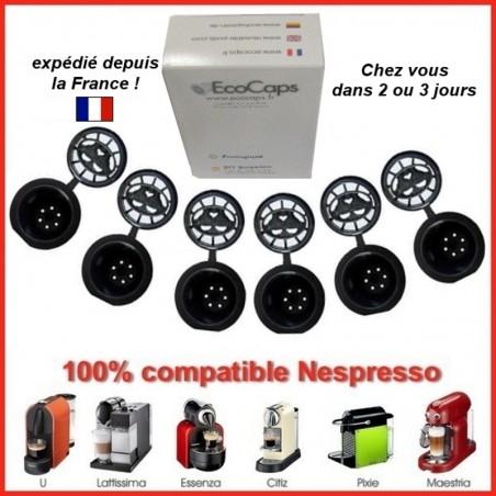 lot 12 capsules économiques rechargeables compatibles Nespresso noires