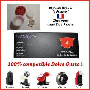 achetez lot 3 capsules réutilisable Dolce Gusto